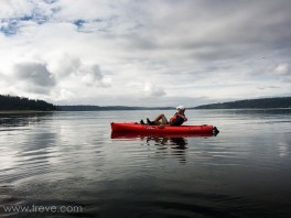 Arlen enjoying a pedal power kayak on Holmes Harbor