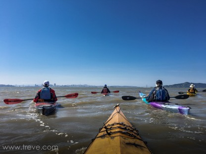 Admining the iew od San Francisco and the Golden Gate after roudning Brooks Island. BASK Thursday Lunch Paddle March 30, 2017.
