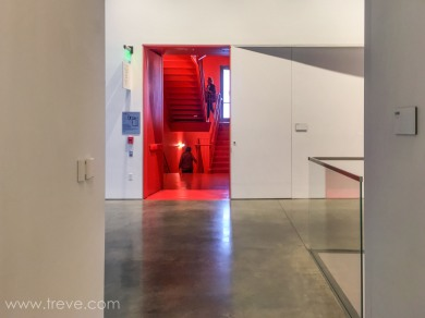 Red stair. Berkeley Art Museum and Pacific Film Archive. BAMPFA