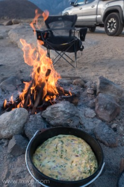 Quiche on the Dutch Oven.