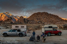 Truck campers in the Alabama Hills. Christmas morning.