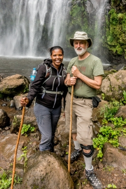 Sophie and Treve at the Materuni Waterfalls