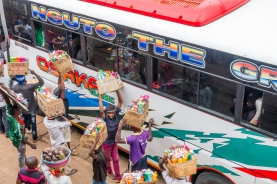 Vendors at the bus station in Moshi