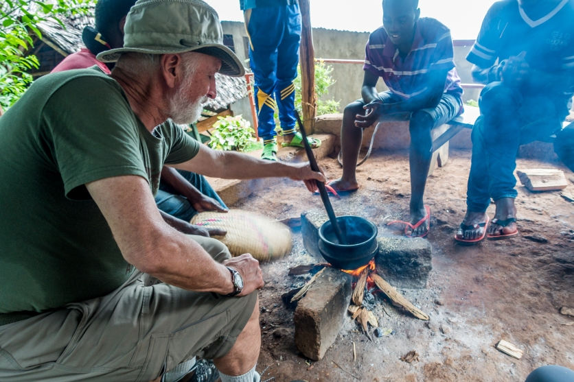 Roasting the coffee beans. Chagga Culture and Coffee