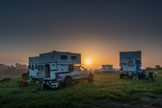 Sunset with Four Wheel Campers at Chanslor Ranch. Bodega Bay.