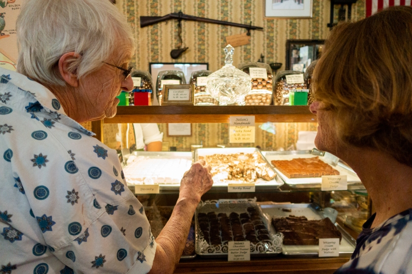 Sue and Joann buying candy at Nelson's Candy Kitchen. Columbia State Historic Park