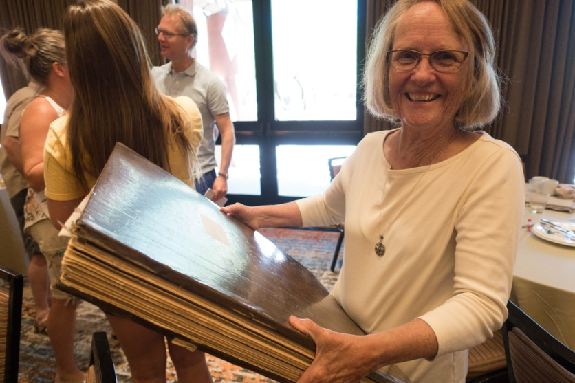 Joann with the Bertie Tribe Scrapbook. The Sundt Family Reunion 2018
