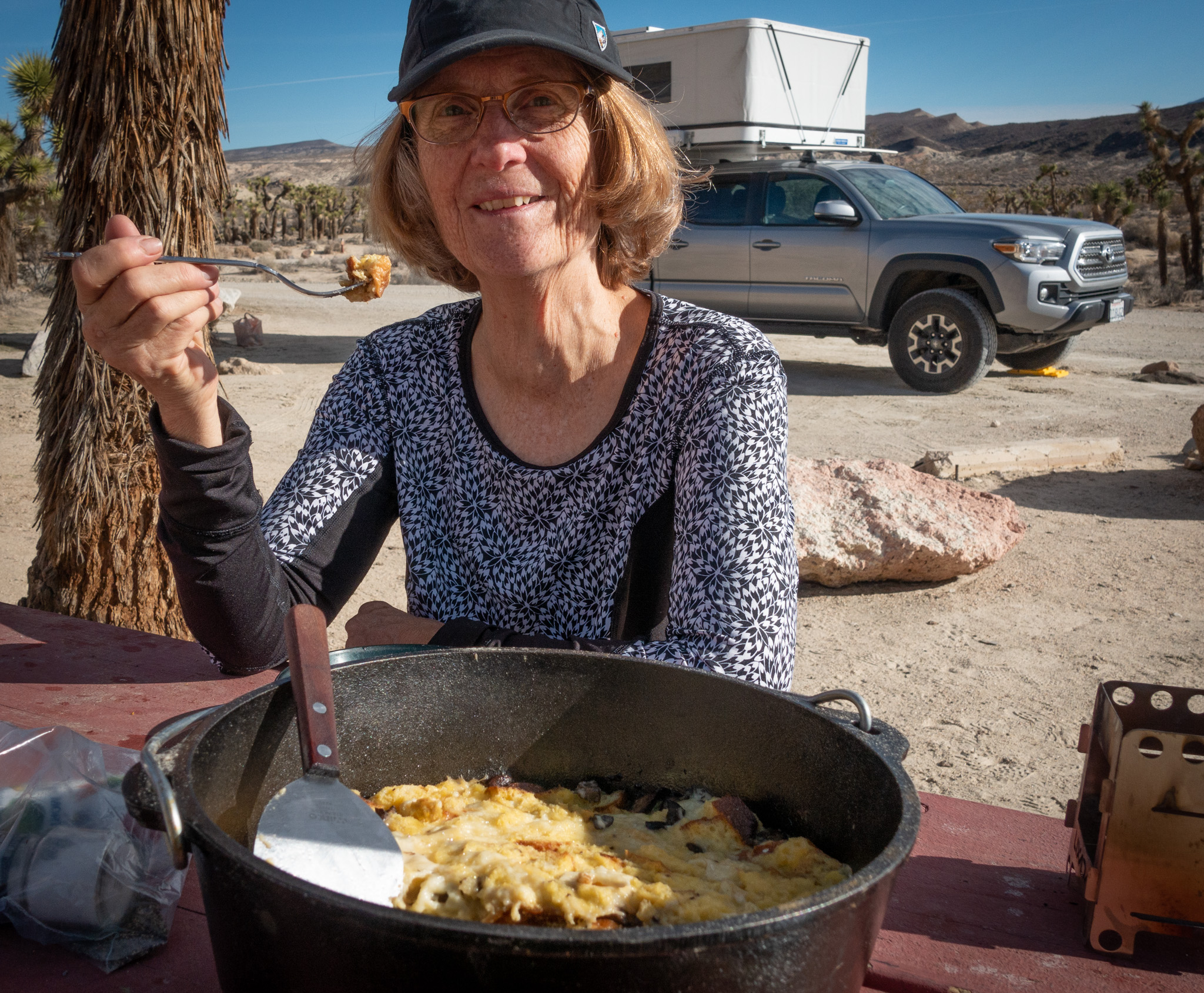 Joann at Red Rock Canyon State Park. Slow Food Breakfast in the Dutch Oven.